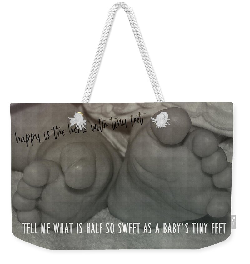 Toes Weekender Tote Bag featuring the photograph Piggy Toes Quote by JAMART Photography