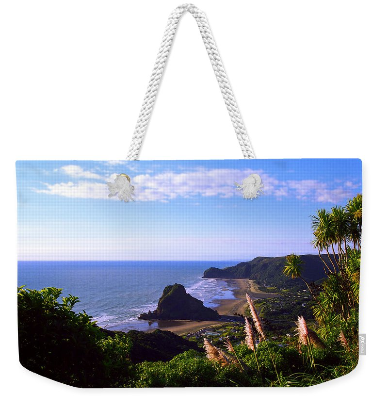 Piha Weekender Tote Bag featuring the photograph Piha Panorama by Kevin Smith