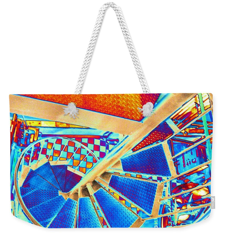 Seattle Weekender Tote Bag featuring the digital art Pike Brewpub Stair by Tim Allen