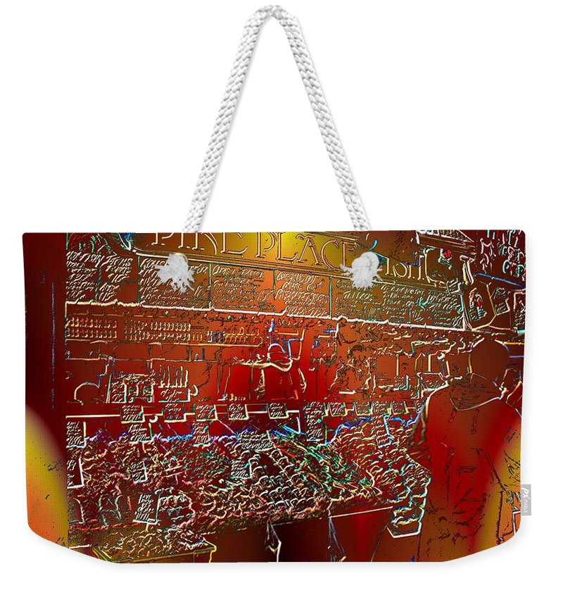 Seattle Weekender Tote Bag featuring the photograph Pike Place Fish by Tim Allen