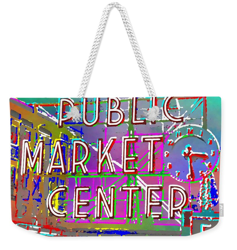 Weekender Tote Bag featuring the digital art Pike Place Market 3 by Tim Allen