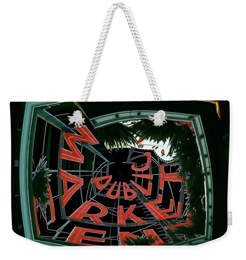 Seattle Weekender Tote Bag featuring the digital art Pike Place Market Entrance 2 by Tim Allen