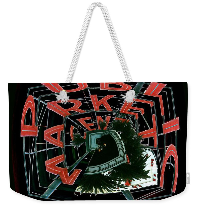 Seattle Weekender Tote Bag featuring the digital art Pike Place Market Entrance 4 by Tim Allen