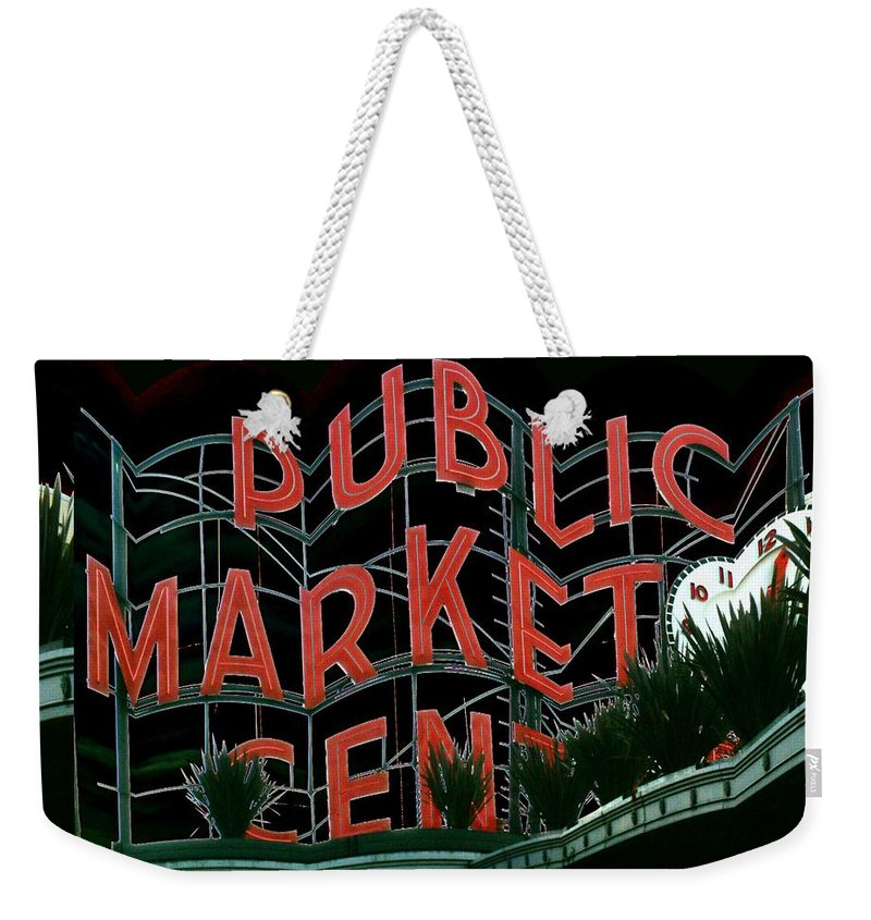 Seattle Weekender Tote Bag featuring the digital art Pike Place Market Entrance 5 by Tim Allen
