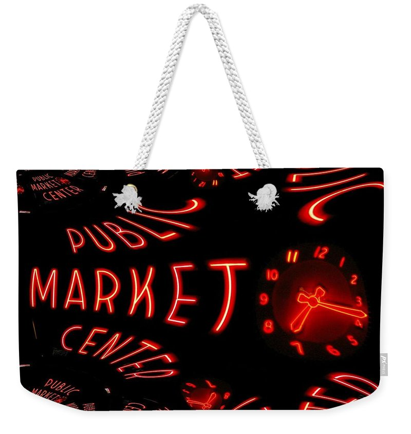 Seattle Weekender Tote Bag featuring the digital art Pike Place Market Entrance 6 by Tim Allen