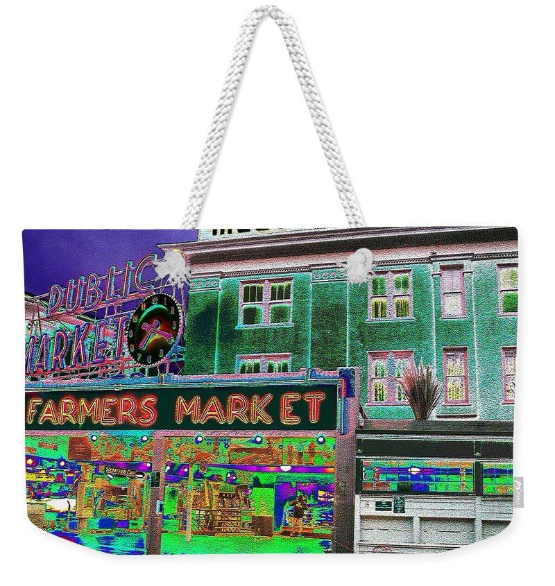 Seattle Weekender Tote Bag featuring the photograph Pike Place Market by Tim Allen