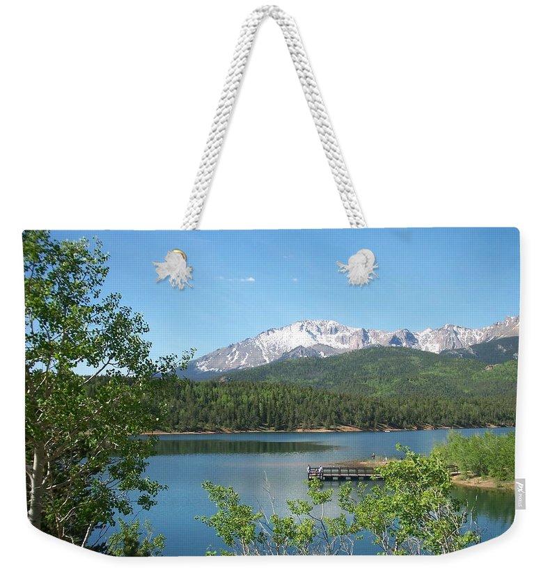 Colorado Weekender Tote Bag featuring the photograph Pike's Peak by Anita Burgermeister