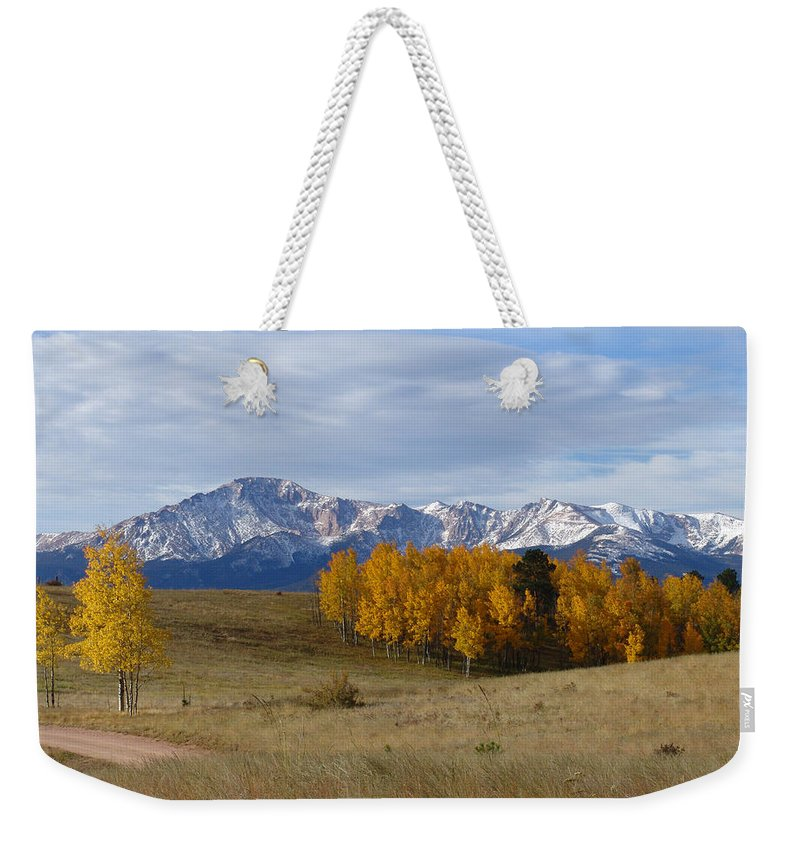 Fall Weekender Tote Bag featuring the photograph Pikes Peak In The Fall by Carol Milisen