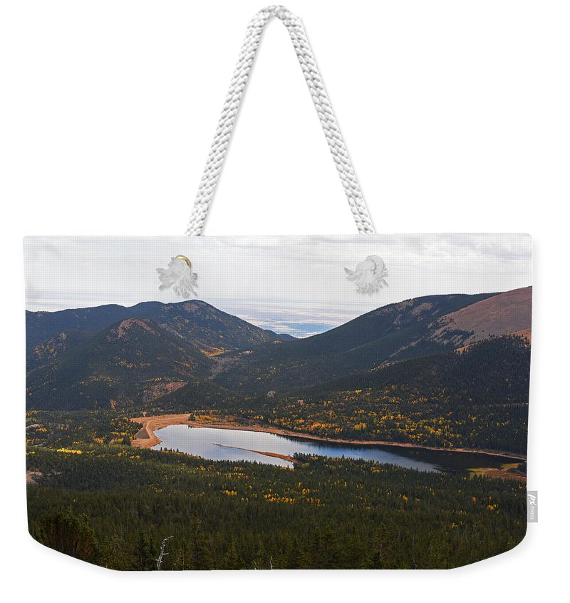Pikes Weekender Tote Bag featuring the photograph Pikes Peak Manitou Colorado Lake by Toby McGuire