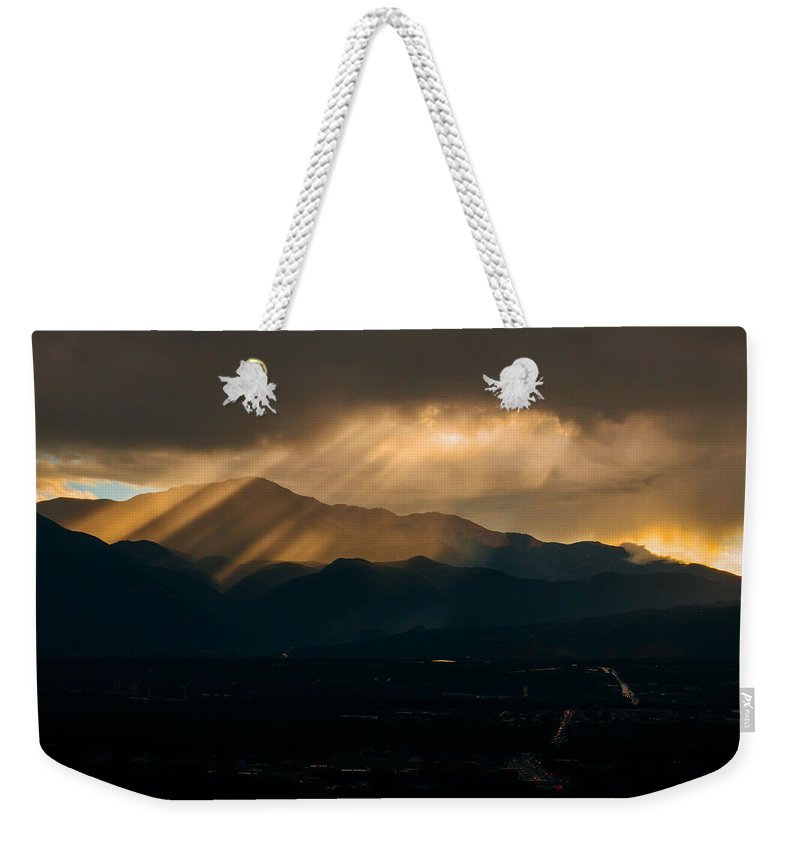 Colorado Weekender Tote Bag featuring the photograph Pikes Peak Sunset by Alex Browne