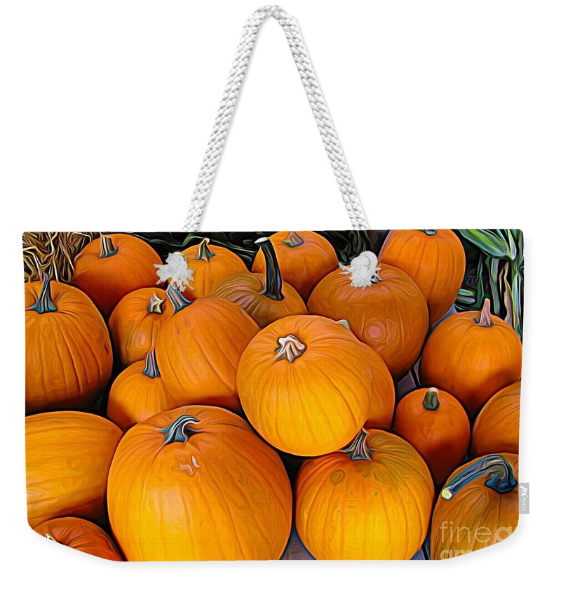Pile Of Pumpkins For Sale Expressionist Effect Weekender Tote Bag featuring the photograph Pile Of Pumpkins For Sale Expressionist Effect by Rose Santuci-Sofranko