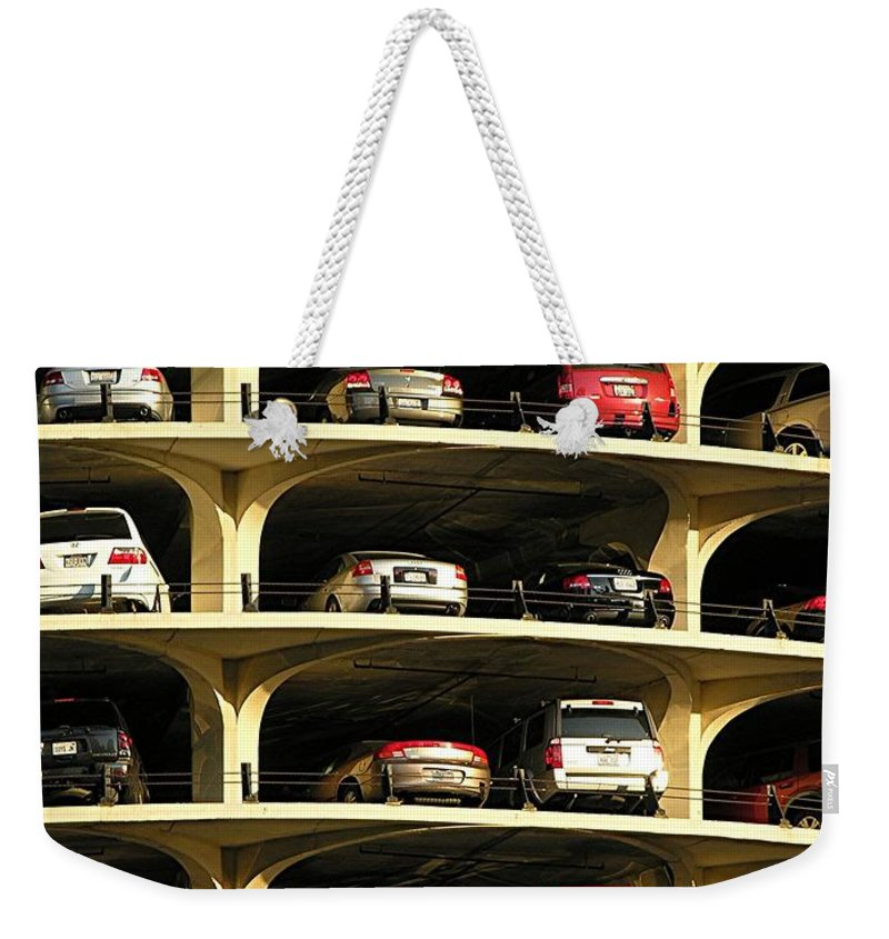 Cars Weekender Tote Bag featuring the mixed media Piled High by Diane Greco-Lesser
