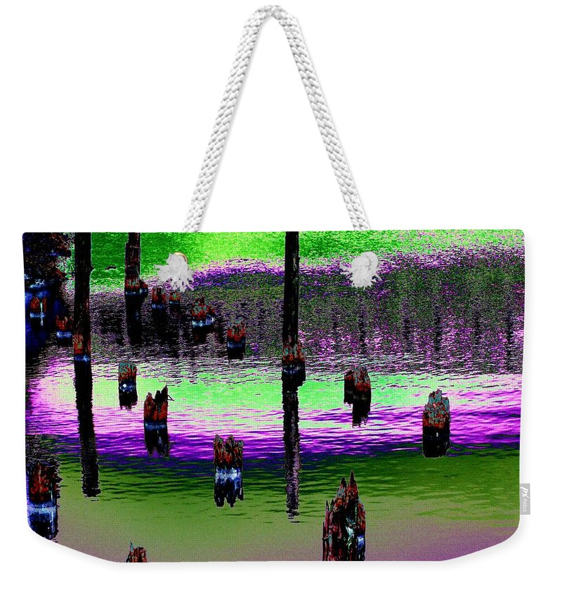 Pilings Weekender Tote Bag featuring the photograph Pilings Of The Past by Tim Allen