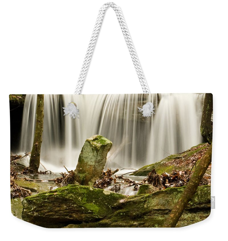 Waterfall Weekender Tote Bag featuring the photograph Pillar And Waterfall by Douglas Barnett