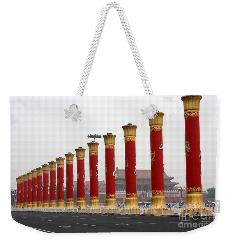 Pillars Weekender Tote Bag featuring the photograph Pillars At Tiananmen Square by Carol Groenen