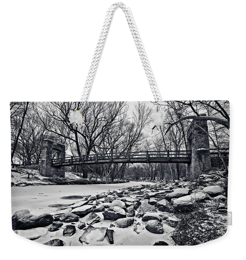 Canon Ef 17-40mm F/4.0 L Usm Weekender Tote Bag featuring the photograph Pillars On The Shore by CJ Schmit