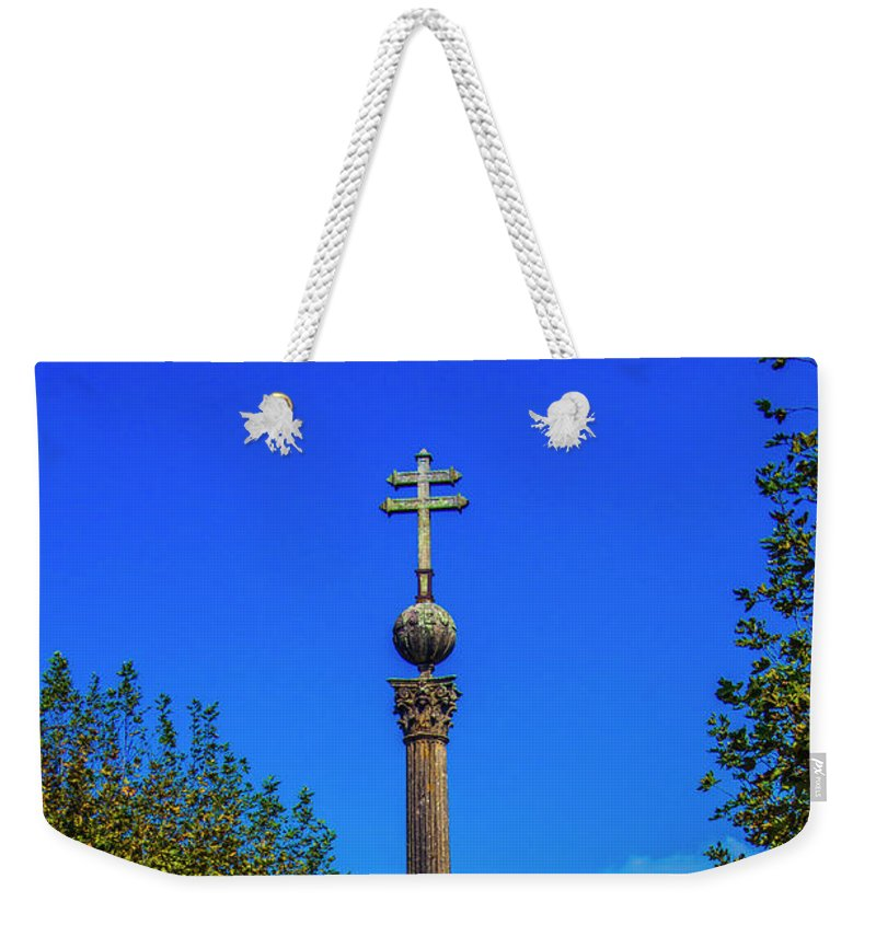Braga Weekender Tote Bag featuring the photograph Pillory Of Braga by Roberta Bragan