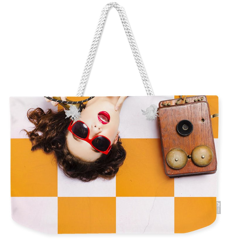 Phone Weekender Tote Bag featuring the photograph Pin-up Beauty Decision Making On Old Phone by Jorgo Photography - Wall Art Gallery
