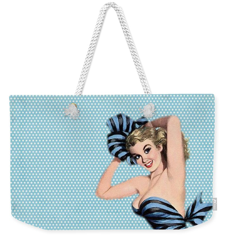 Vintage Weekender Tote Bag featuring the photograph Pin Up Girl Square 2 by Edward Fielding