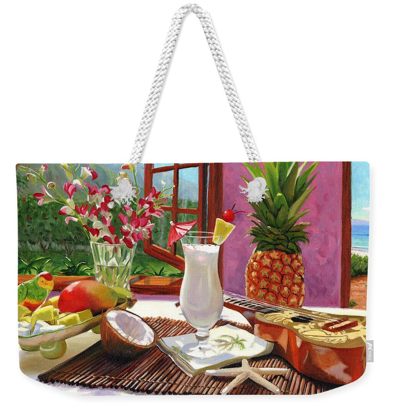 Pina Colada Weekender Tote Bag featuring the painting Pina Colada by Steve Simon