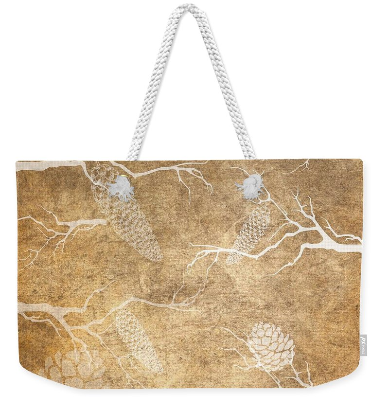 Nature Weekender Tote Bag featuring the photograph Pine Cone Shadows by Sharon Johnston