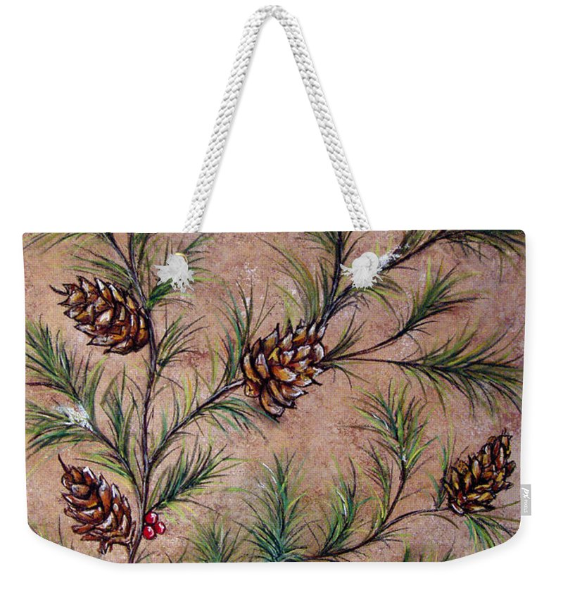Acrylic Weekender Tote Bag featuring the painting Pine Cones and Spruce Branches by Nancy Mueller