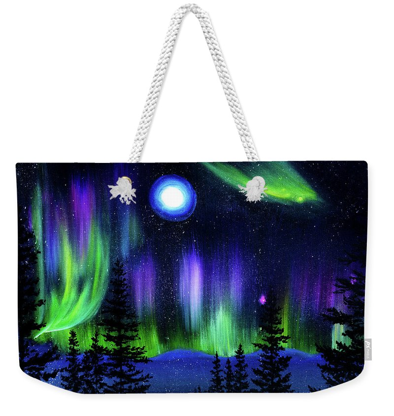 Pine Weekender Tote Bag featuring the painting Pine Trees In Aurora Borealis by Laura Iverson