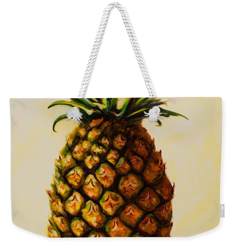 Pineapple Weekender Tote Bag featuring the painting Pineapple Angel by Shannon Grissom