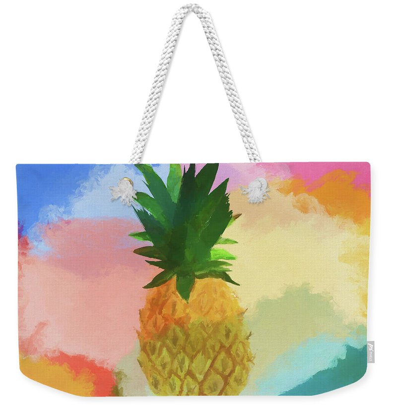 Colorful Pineapple Weekender Tote Bag featuring the painting Pineapple by Dan Sproul