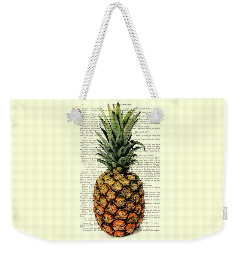 Pineapple Weekender Tote Bag featuring the digital art Pineapple In Color Illustration by Madame Memento