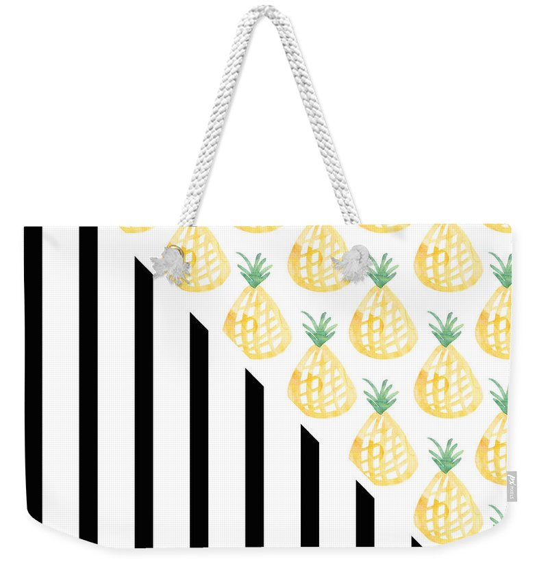 Pineapple Weekender Tote Bag featuring the mixed media Pineapples and Stripes by Linda Woods