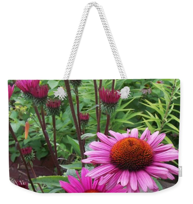 Flowers Weekender Tote Bag featuring the photograph Pink All Over by Anita Burgermeister