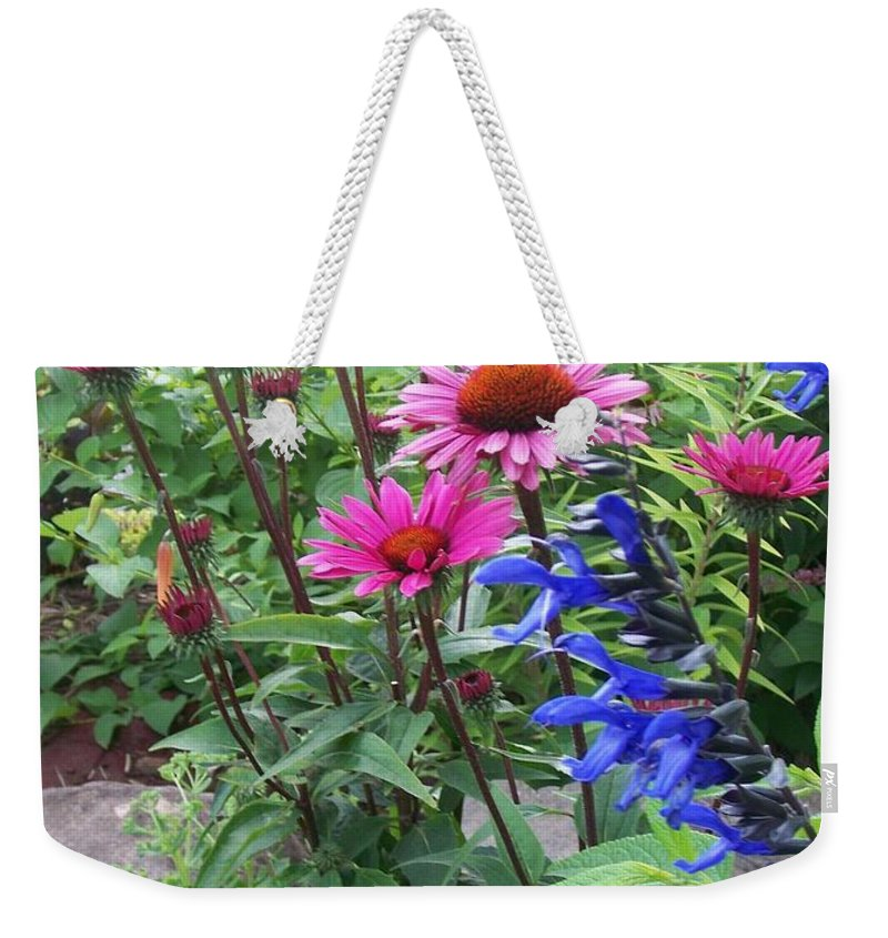 Flowers Weekender Tote Bag featuring the photograph Pink All Over Plus Purple by Anita Burgermeister