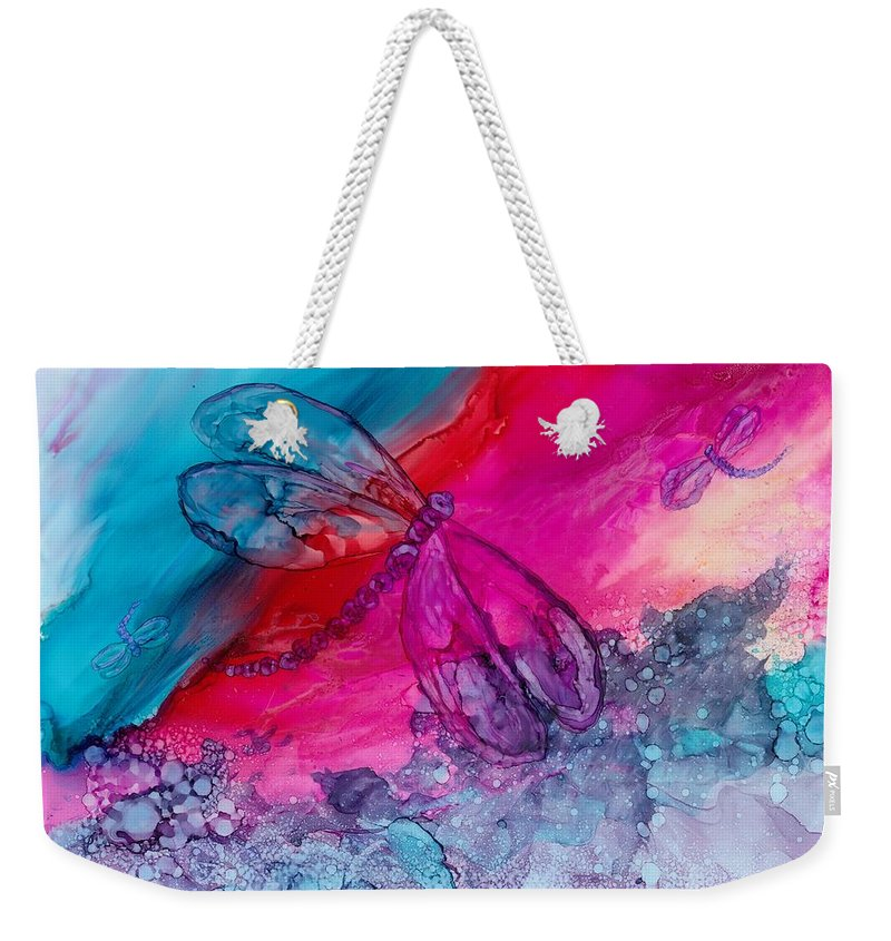 Dragonflies Weekender Tote Bag featuring the painting Pink And Blue Dragonflies by Debora Boudreau