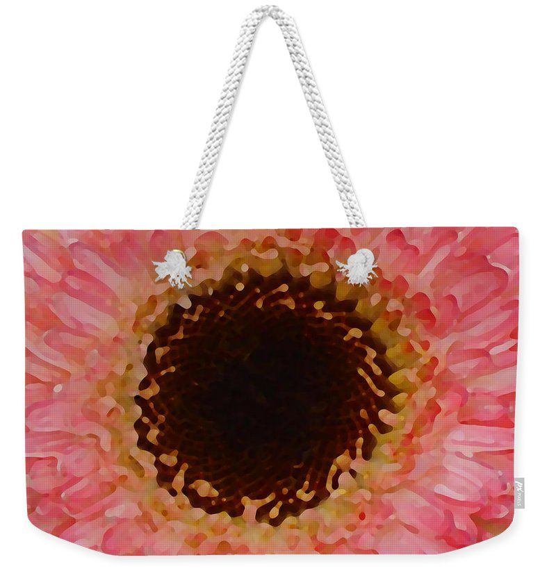 Daisy Weekender Tote Bag featuring the painting Pink And Brown Gerber Center by Amy Vangsgard