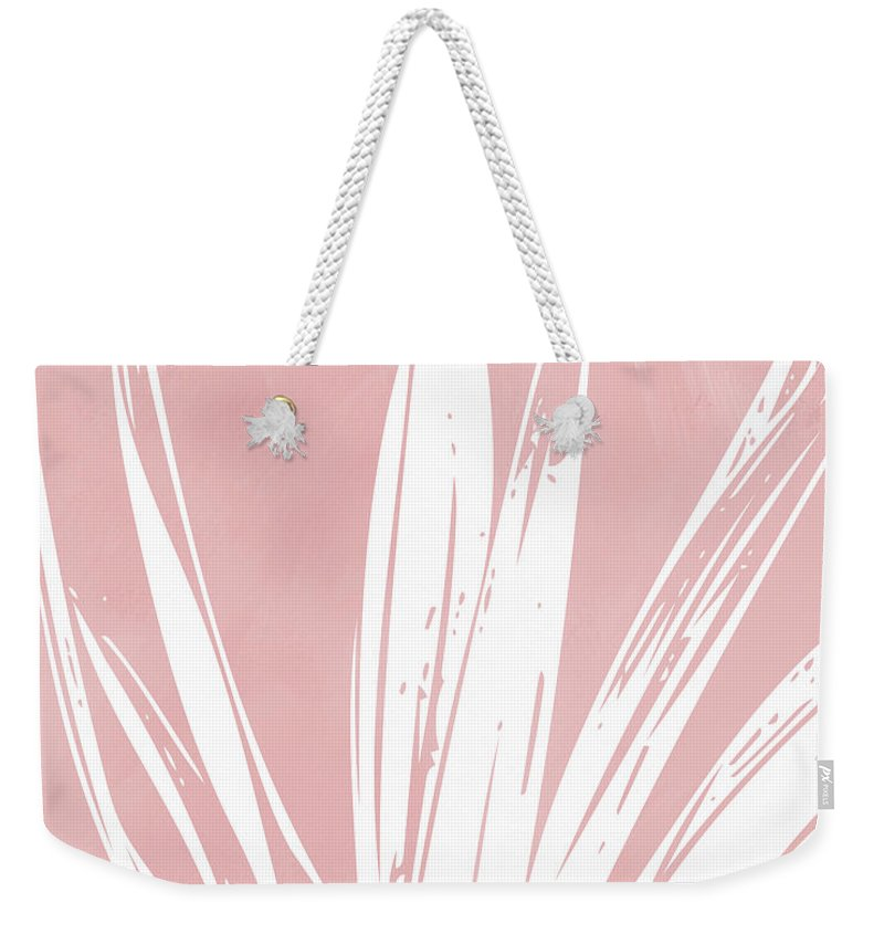 Leaf Weekender Tote Bag featuring the mixed media Pink and White Tropical Leaf- Art by Linda Woods by Linda Woods