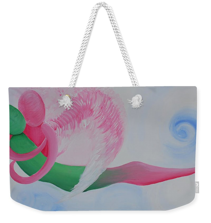 Pink Angel Weekender Tote Bag featuring the painting Pink Angel Of Unconditional Love by Catt Kyriacou