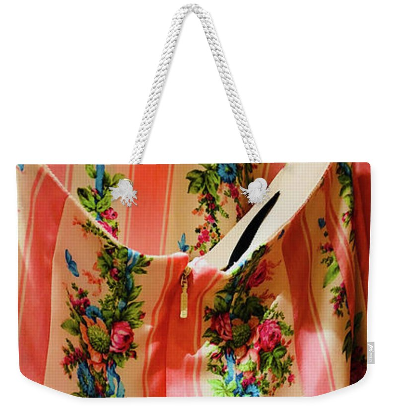 Pink Weekender Tote Bag featuring the photograph Pink Back Zipper by Ceil Diskin