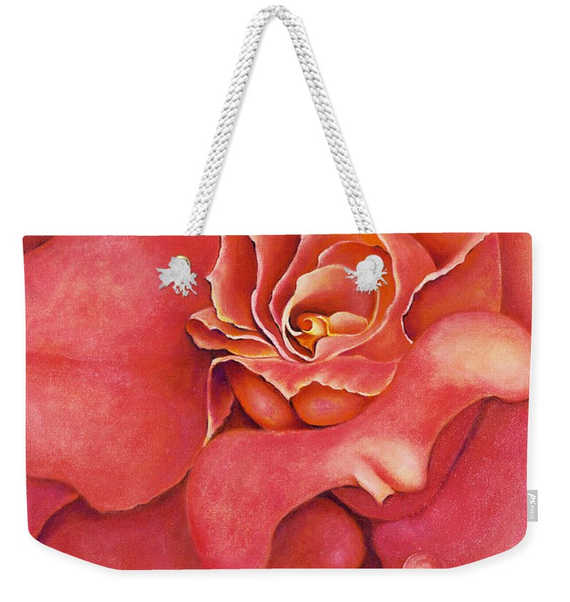 Rose.bloom Weekender Tote Bag featuring the painting Pink Blush by Jordana Sands