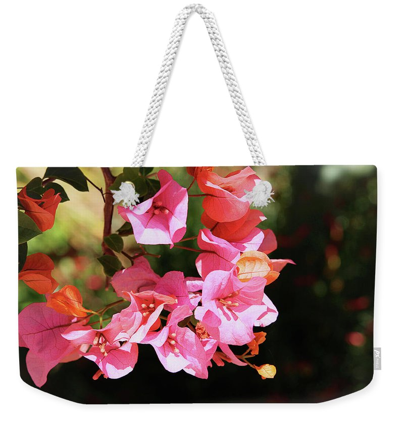 Bougainvillea Weekender Tote Bag featuring the photograph Pink Bougainvillia- Photograph By Linda Woods by Linda Woods