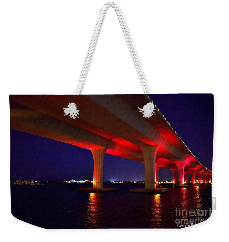 Pink Bridge Weekender Tote Bag featuring the photograph Pink Bridge 2 by Lisa Renee Ludlum