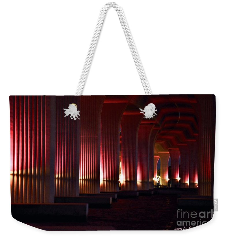 Pink Bridge Weekender Tote Bag featuring the photograph Pink Bridge by Lisa Renee Ludlum