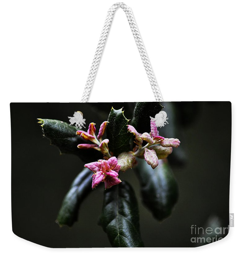Clay Weekender Tote Bag featuring the photograph Pink Bud by Clayton Bruster