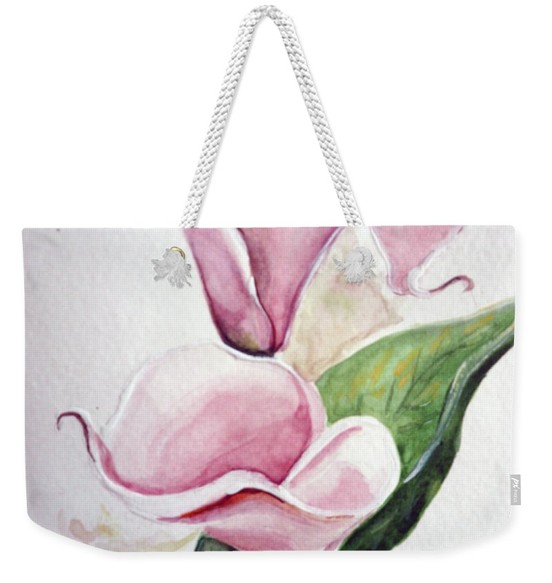 Botanical Painting Pink Paintings Calla Paintings Lily Paintings Flower Paintings Floral Paintings Flora Pink Flower Lily Weekender Tote Bag featuring the painting Pink Callas by Karin Dawn Kelshall- Best
