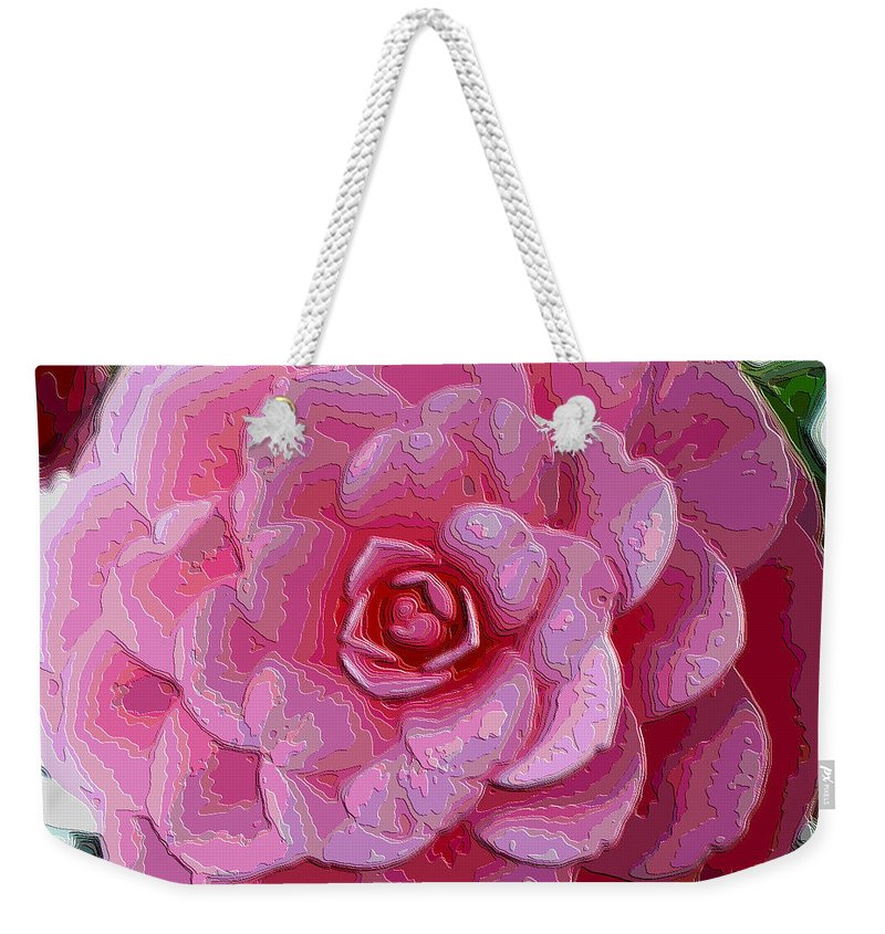 Pink Flower Weekender Tote Bag featuring the photograph Pink Camellia Dream by Carol Groenen