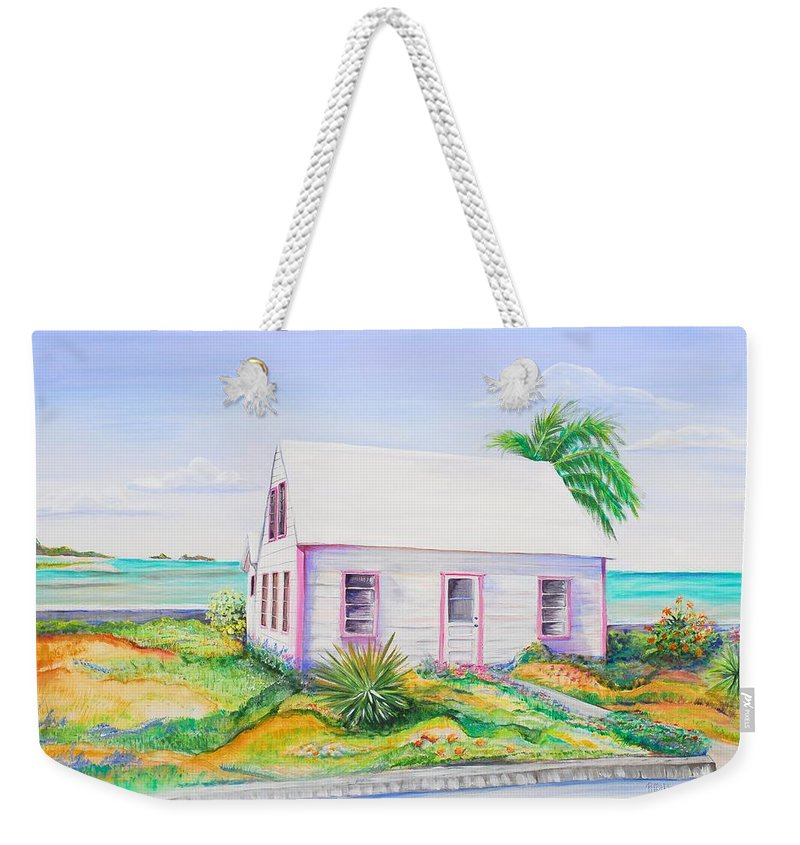 Seaside Cottage Weekender Tote Bag featuring the painting Pink Cottage by Patricia Piffath