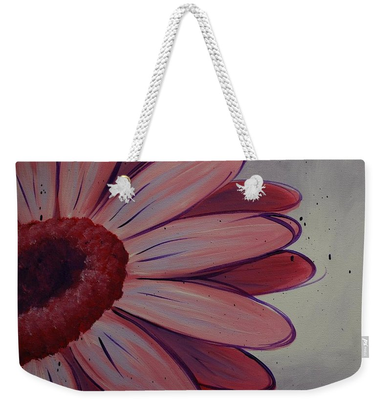 Daisy Weekender Tote Bag featuring the painting Pink Daisy by Emily Page