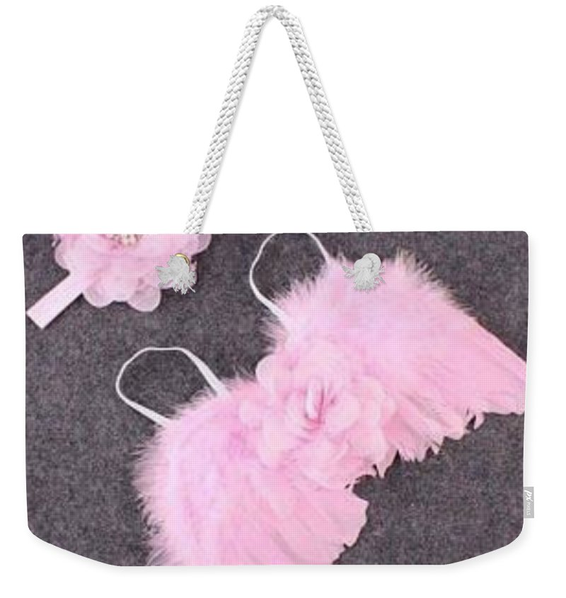 Angel Wings Weekender Tote Bag featuring the photograph Pink Feather Baby Girl Angel Wings With Flower Lace Headband by Newborn Propsz
