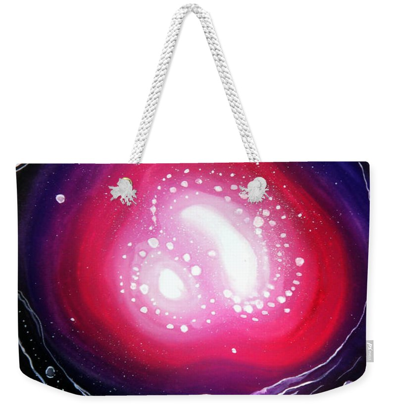 Nice Weekender Tote Bag featuring the painting Pink Flash Of Energy. Sweet Dreams. Astral Vision by Sofia Metal Queen