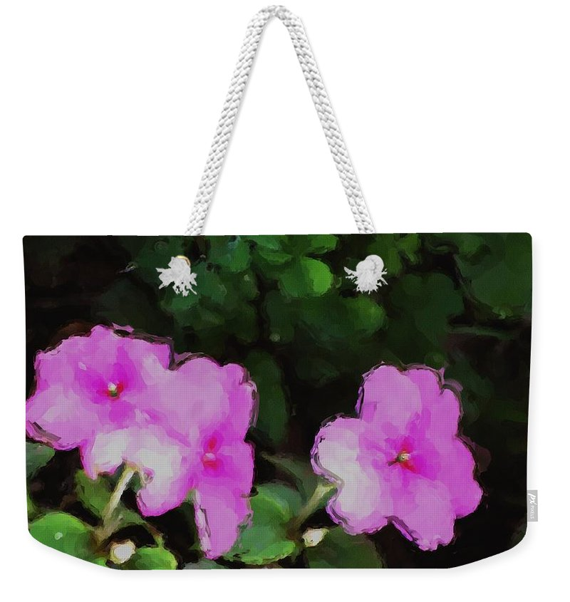 Digital Photograph Weekender Tote Bag featuring the photograph Pink Floral Watercolor by David Lane
